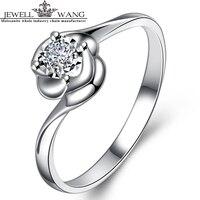 JEWELLWANG 18K White Gold Diamond Rings 1 Carat Effect Certified Engagement Light Luxury Diamond 0.07CT Shiny Wedding Ring Gift