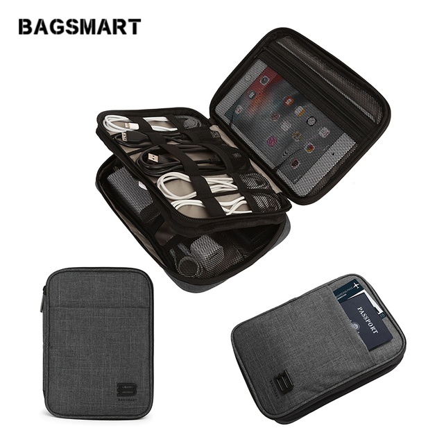 Bagsmart Electronic Travel Accessories Nylon For Sd Card Usb Cable Kindle Ipad Charger Portable Bag