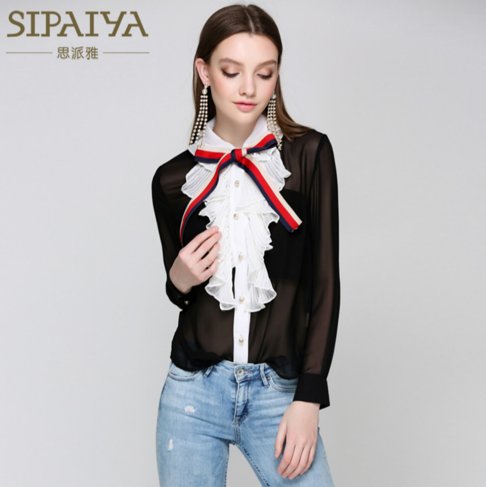 Runway Brand Women's Blouses Sexy Lace Ruffles Patchwork Bow Designer Perspective 2018 Summer Female Black Blouse Chiffon Tops