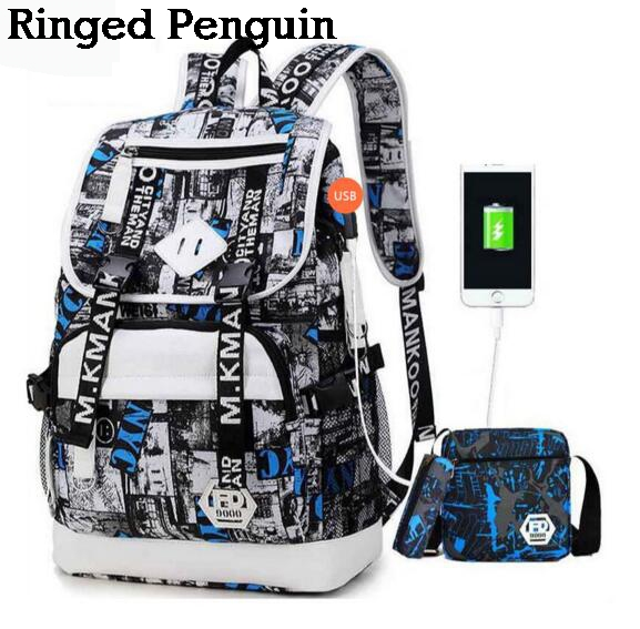 male USB Backpack black one shoulder bag pencil case men school bag set waterproof oxford fabric travel bags bookbag 3 pcs school bags for boys high school backpack male small one shoulder bookbag boy blue pen pencil bag set travel bags