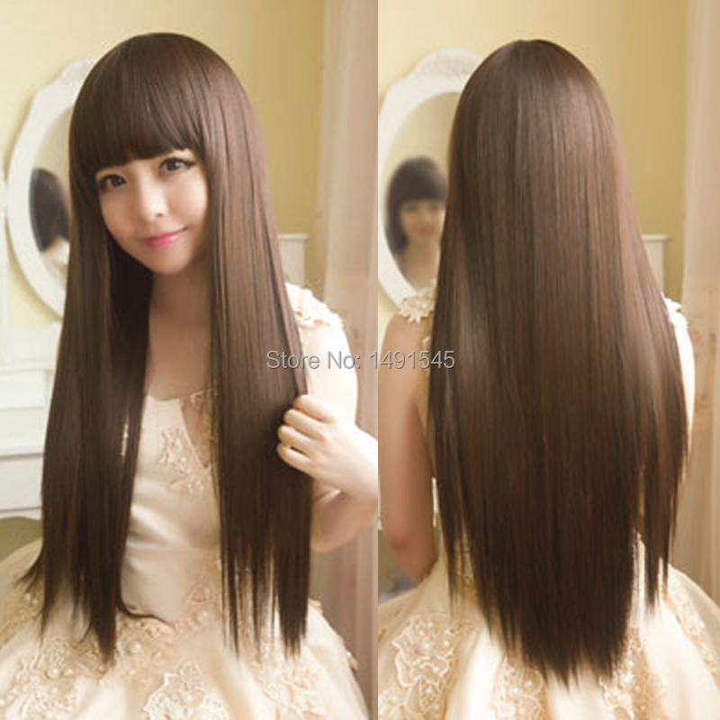 65cm Fashion Hairstyle Kinky Straight Long Female Wig Light Brown