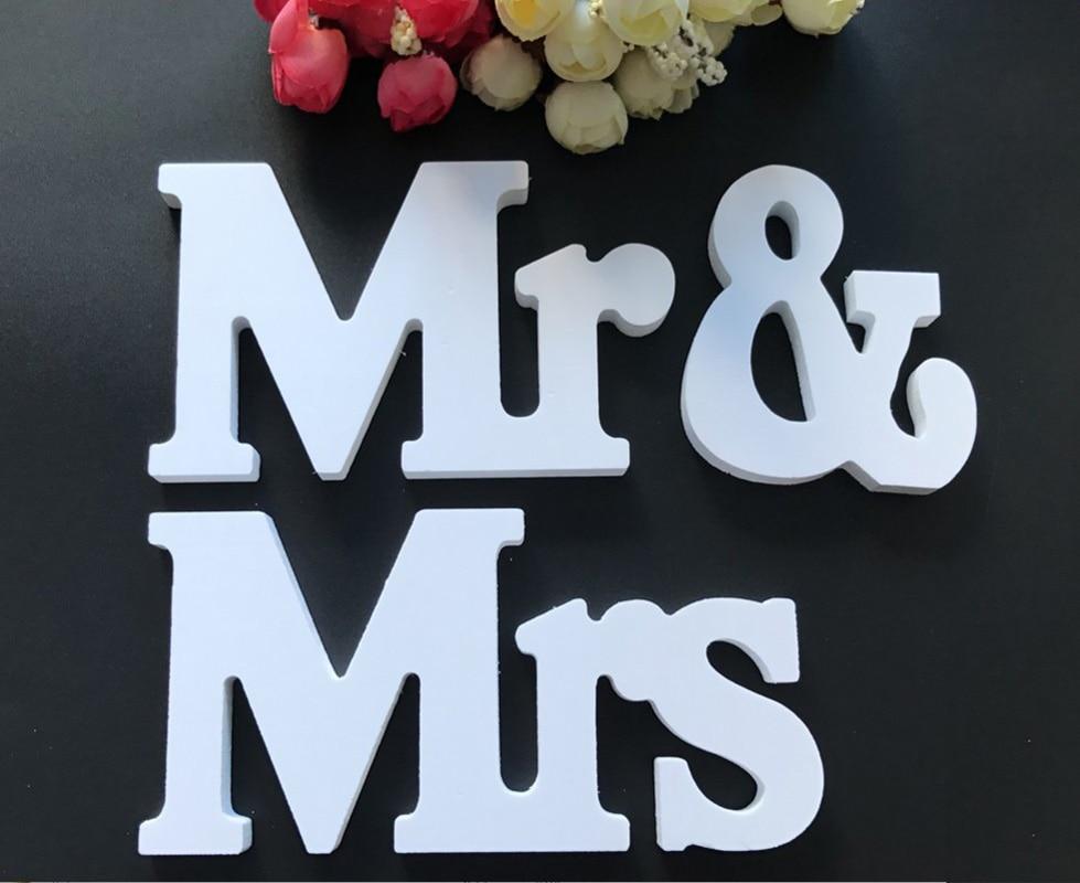 Пластик Mr & Mrs белые буквы знак Свадебные висит стоя знаки для таблицы Свадебная вечеринка украшения