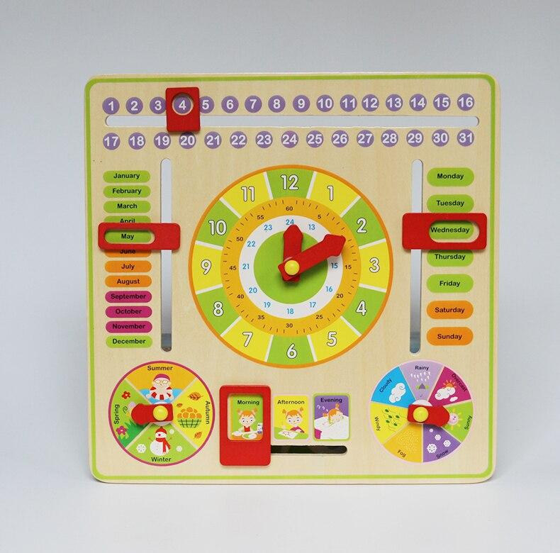 Baby Kids Toy Cartoon Calendar and Clock Wood Numbers Math Preschool Early Childhood Education Kids Brinquedos