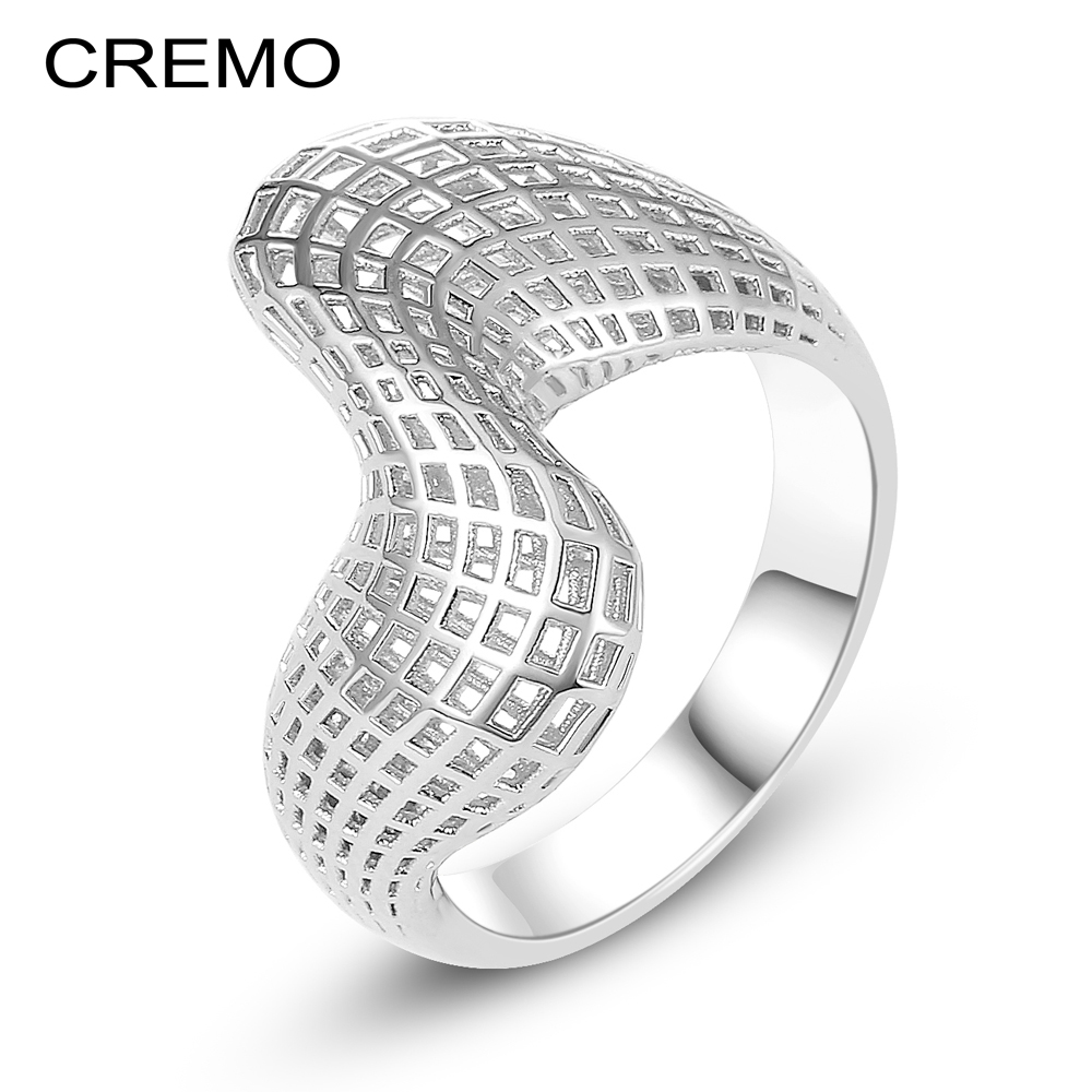 Cremo Rings For Women Geometric Personalized Serpentine 3Dimensional Hollow Band 2 Color Ring Bague Femme Argent Fashion Jewelry