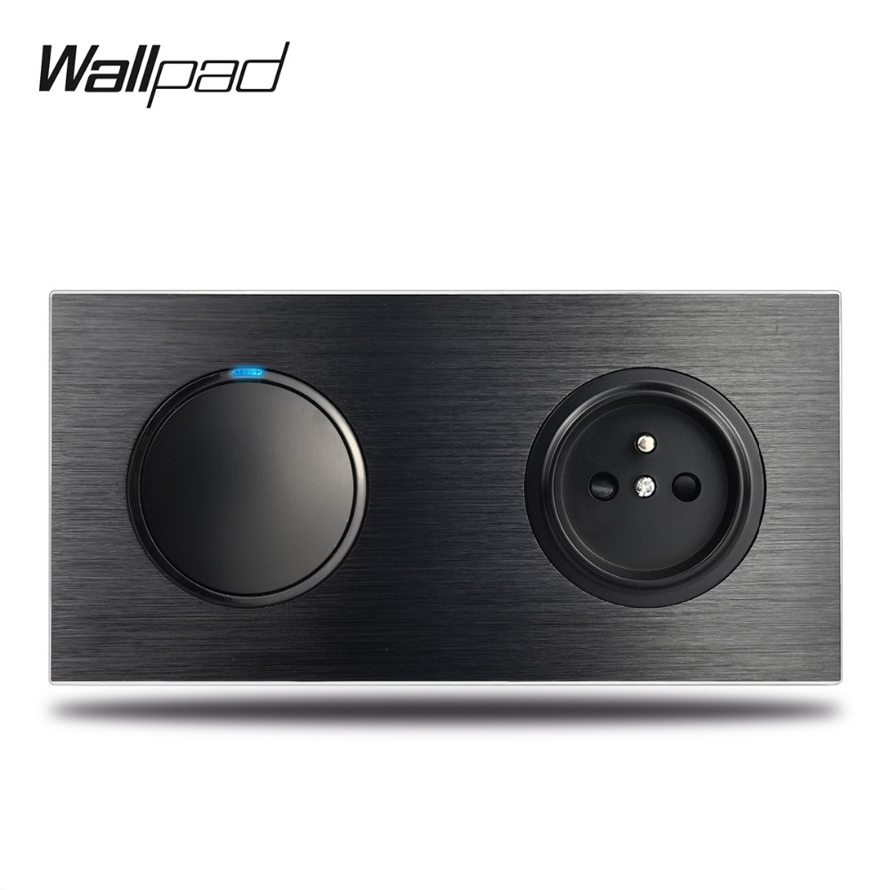 Wallpad L6 Black Metal 1 Gang Switch with French Wall Electrical Power Socket Satin Aluminum Frame Dual Plate, 172 * 86 mmWallpad L6 Black Metal 1 Gang Switch with French Wall Electrical Power Socket Satin Aluminum Frame Dual Plate, 172 * 86 mm