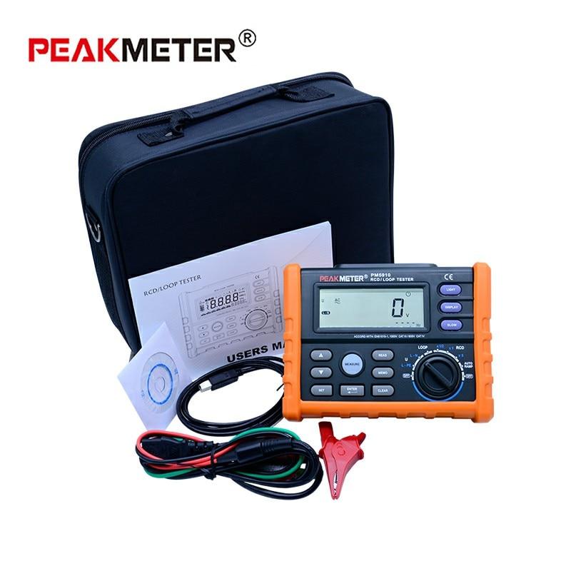 Image 5 - PEAKMETER PM5910 Digital resistance meter RCD loop resistance tester Multimeter Trip out Current/Time Test with USB InterfaceResistance Meters   -