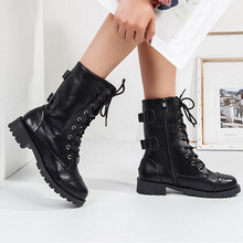 Botas militares para mujer, botas de vaquero con plataforma media con cremallera, botas de pantorrilla 2019 Otoño e Invierno nuevo zapatos de las señoras
