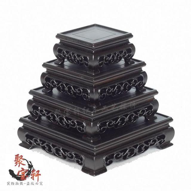 Correo del paquete base cuadrada de ébano de madera sólida escultura hogar actuar el papel ofing buda de piedra florero artesanía