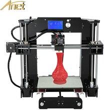 Anet a8 máquina de precisión de gran tamaño de impresión de la impresora 3d reprap prusa i3 DIY 3D Kit de Impresora Con El Filamento 8 GB Tarjeta LCD