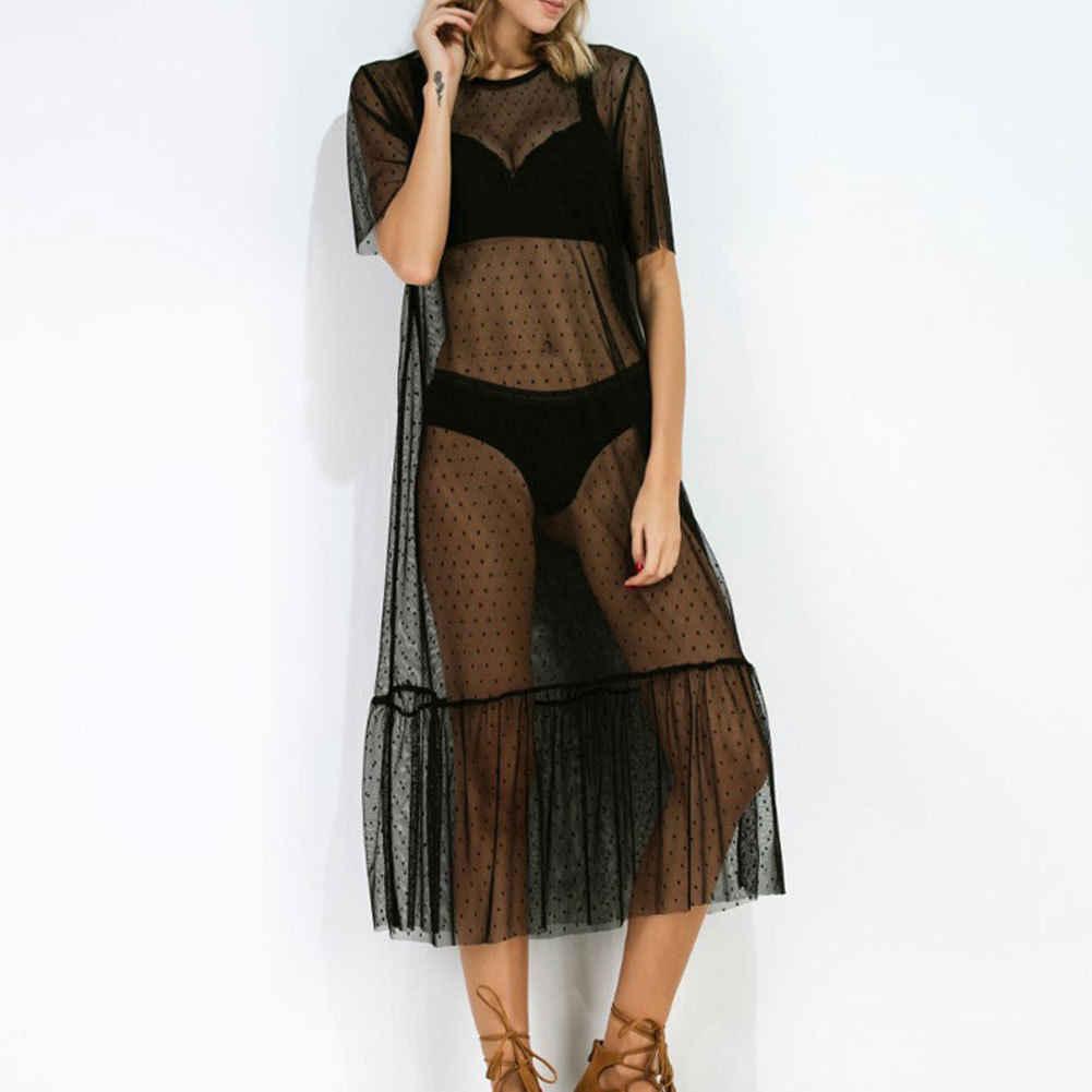 Summer Women Long Maxi Polka Dots Loose Beach Sundress Ladies New Dress  Clothes 1a39d8cb719b