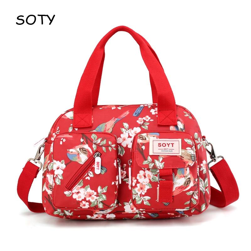 SOYT márka 2019 új népszerű Virágok és állatok minta Nylon női kézitáska válltáska női nyomdai táskákhoz