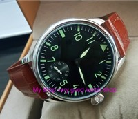 green luminous 44mm parnis 6498 / ST3621 17 jewels Mechanical Hand Wind movement butterfly buckle men's watches 377A