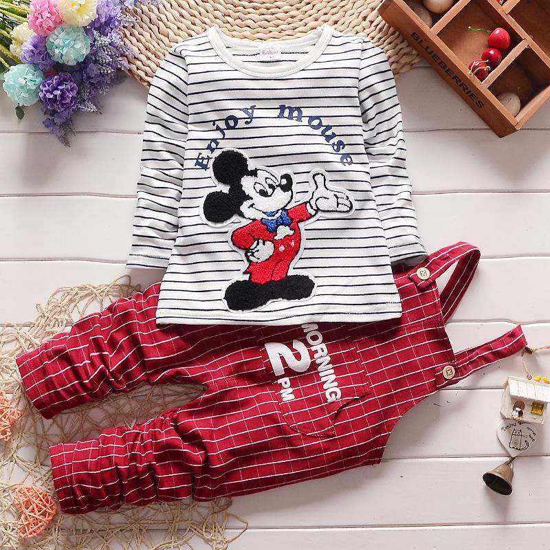 2016 new spring childern cartoon stripe clothing set baby boys fashion strap gentleman clothes suit kids Minnie mouse outfits kids spring 2017 new fashion korean wave point clothing set baby girls cute cotton clothes suit childern cartoon 3pcs suit