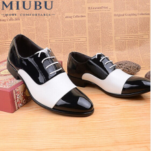 MIUBU Spring Autumn Fashion Men Shoes Patent Leather Dress White Black Male Soft Wedding Oxford