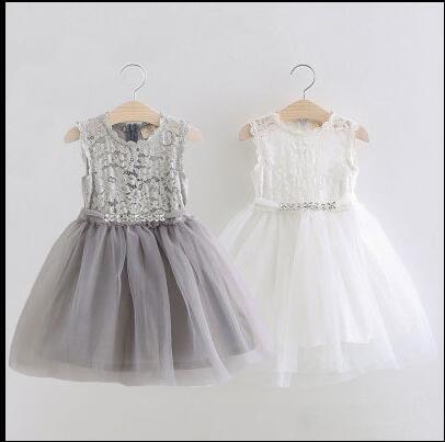 d323d481f1 Księżniczka koronki białej sukni kwiat dziewczyna szary sukienka ślub  pierwsza komunia strój dziewczyna Party tiul sukienka w Księżniczka koronki  białej ...