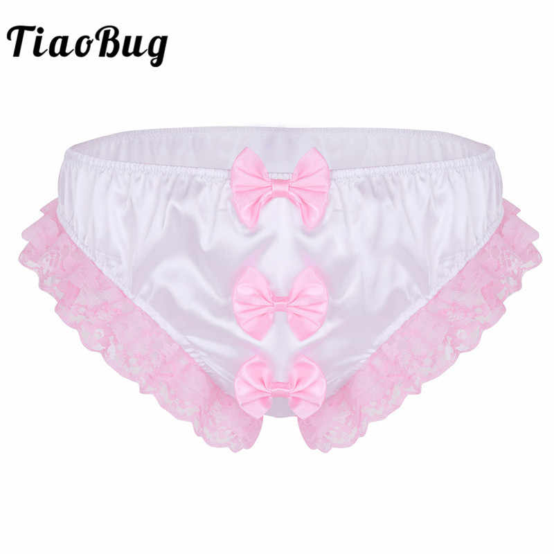 a1ac76c71a Detail Feedback Questions about TiaoBug Mens Lingerie White Pink Shiny  Ruffle Floral Lace Bows Sexy Men Gay Stretch Thong Briefs Hot Underwear  Sissy Panties ...