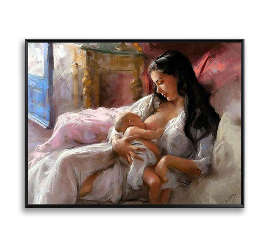 Wall Art Picture Diy Painting By Numbers Paint On Canvas Nursing Mother Love Baby For Home Decor Artwork Baby room decor FSZ-62
