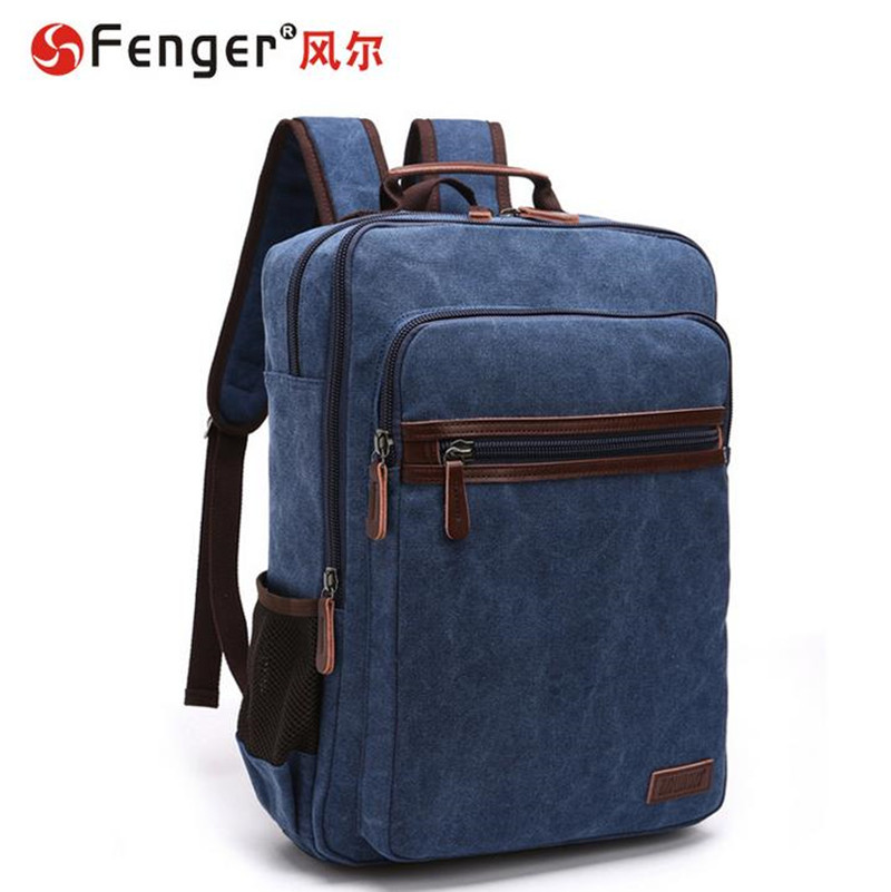 ФОТО  Male canvas double shoulder bag casual men's backpack students schoolbag Dark blue Large Capacity travel