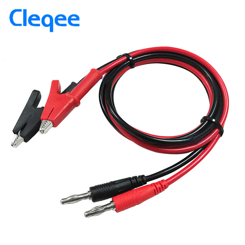 Cleqee P1040 2PCS 1M 4mm Silicone Banana Plug to Crocodile Alligator Clip Test Probe Lead 1000V/15A Wire Cable Test Leads Kits cleqee p1037 1set 5pcs 1m 4mm silicone banana plug to crocodile alligator clip test probe lead wire test cable