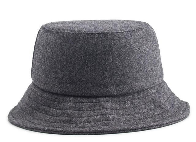3359657ec5c 30pcs Plain Wool Felt Bucket Hats for Spring Autumn Men Black Woolen Fisherman  Hat Women Grey Fisher Caps Wholesale Blank Cap