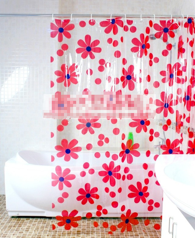 Free shipping thickened PVC transparent blue/red flower shower ...