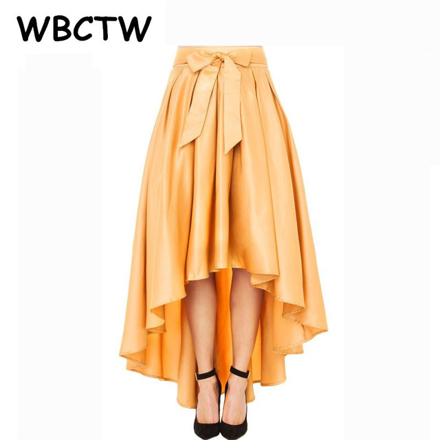 be3b45dd62a WBCTW Asymmetrical High Low Skirts Solid High Waist 9XL 10XL Plus Size 2018 Autumn  Skirt Maxi Pleated Jupe Femme
