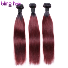 Bling Hair Brazilian Straight Hair 1B-99J Ombre Hair Weave Non-Remy Human Hair 3 Bundles Great Value For Salon Hair Extensions