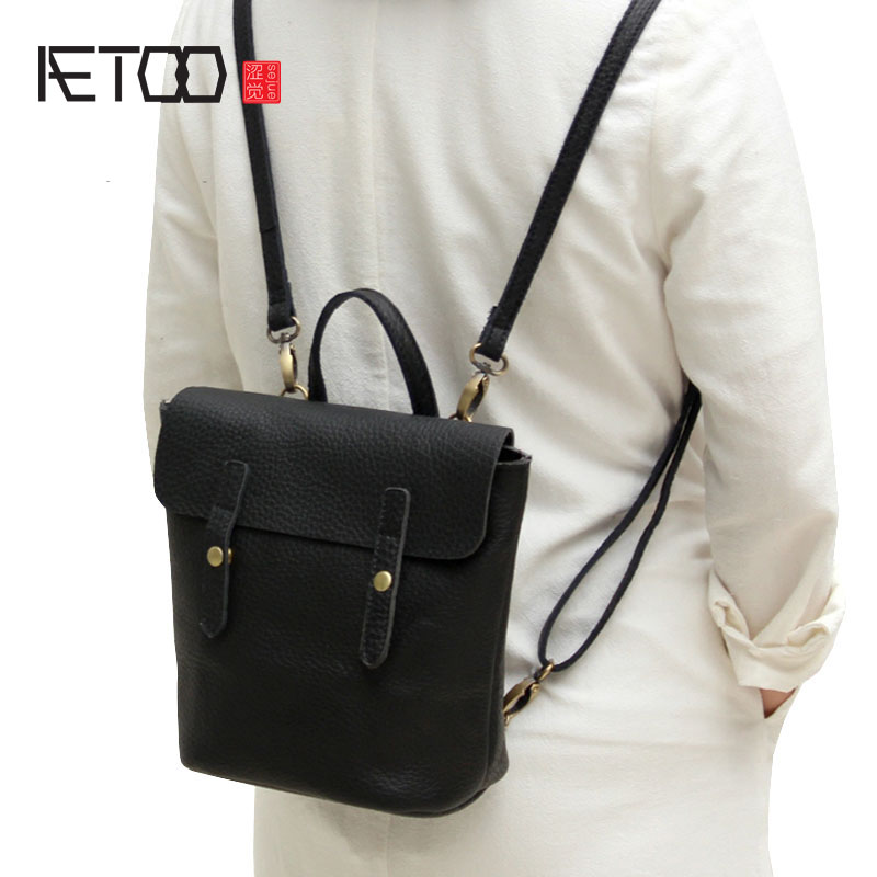 AETOO Simple design leather single shoulder bag dual-use female package 2017 new Korean version of the limelight leather small b 2018 new female korean version of the bag with a small square package side buckle shoulder messenger bag packet tide