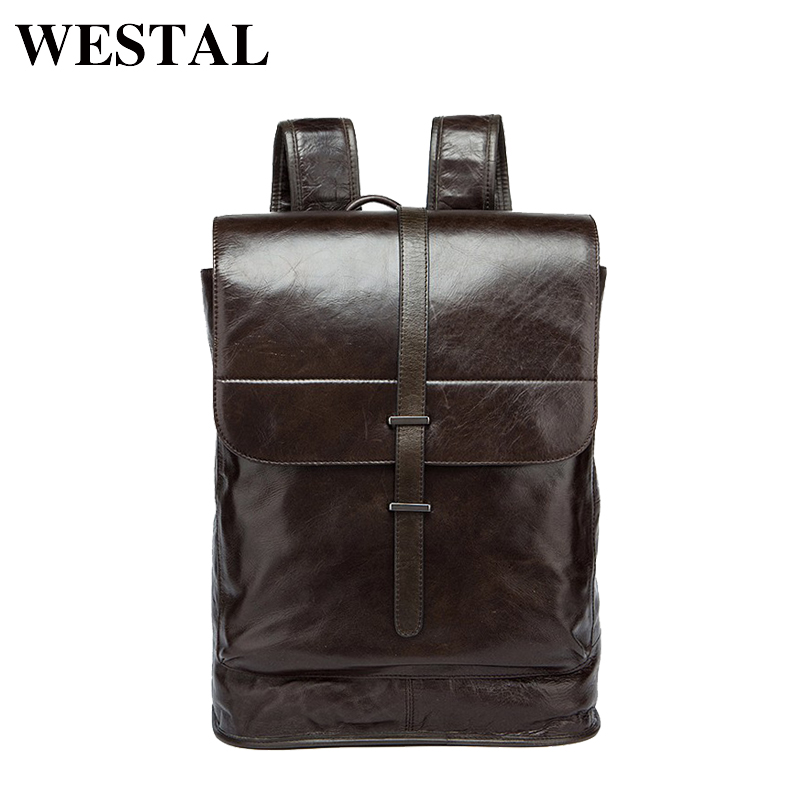 WESTAL Men Backpack Genuine Leather Men's Travel Bags Fashion Man Backpack Casual Business Cowhide Leather Male Backpacks 9116