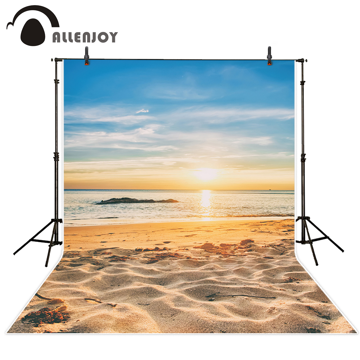 Allenjoy Vinyl material photography Beach sunset blue sky holiday summer ocean photography backdrop photo studio props photocall allenjoy scenery photo backdrop island coconut tree clouds beach photocall studio background for a photo shoot vinyl cloth
