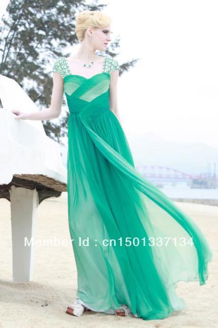 Green Sweetheart Short Sleeves Beadeding floor length chiffon Evening Dress