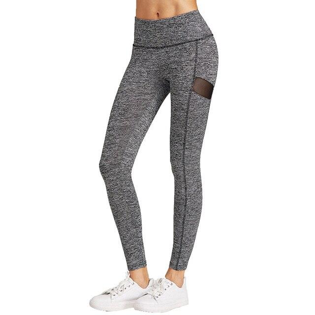 5bb466d56ce8f1 Yoga Hosen Frauen Sommer Fitness Legging Baumwolle Net Garn Elastischen  Sport Leggings Jogging Femme Graue Hose