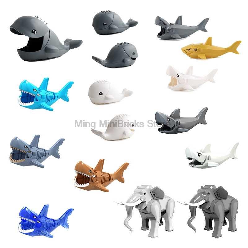 Animale serie FAI DA TE Blocchi di jungleing mobilitazione Foresta Animali Lion Cougar elefante cammello squalo tigre pantera modello giocattolo Per Bambini