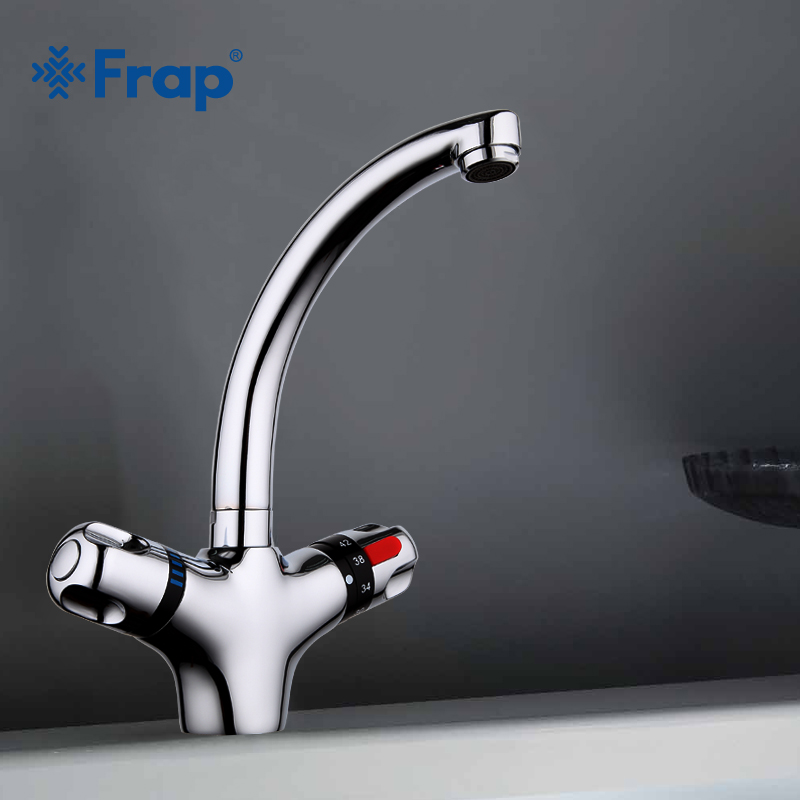 FRAP 1 Set Deck Mounted Brass Solid Thermostatic Basin Faucet Chrome Finished Double Handle Cold and Hot Water Mixer F1051