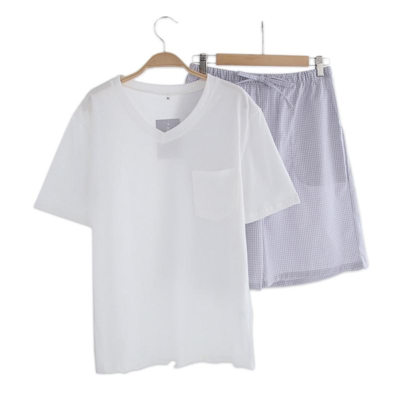 Simple White Short Pajamas Sets Men Sleeping Set Short-sleeve 100% Cotton Sexy V-neck Mens Homewear Sleepwear Pyjamas For Male
