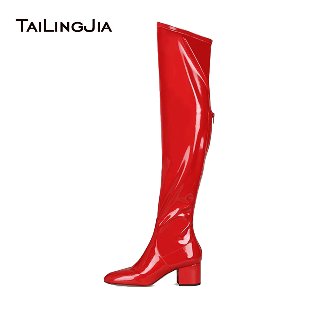 Women Red Patent Leather Block Heel Over The Knee High Boots Comfy Low Heel Round Toe Back Zipper Black Stretch Suede Boots 2017 high low back ruffled color block tank top