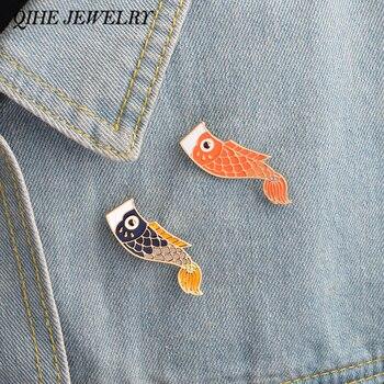 Joyería QIHE, alfileres esmaltados, Nishikigoi, pez japonés Koi, Pin de pescado, joyería Vintage, Broche para mujer, joyería Unisex