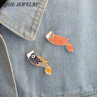 Joyería QIHE Pines de esmalte Nishikigoi japonés peces Koi pez Pin joyería Vintage Broche mujer hombre Unisex de la joyería