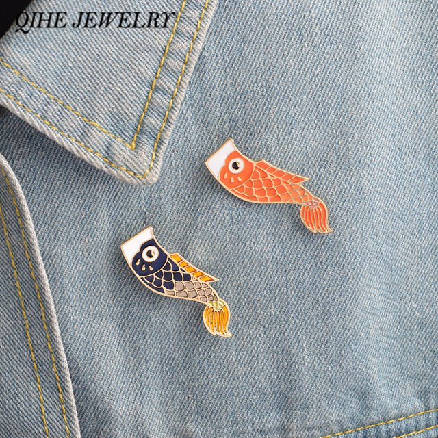 QIHE JEWELRY Enamel pins Nishikigoi Japanese Fish Koi Fish Pin Vintage Bijoux Broche Femme Male Unisex jewelry