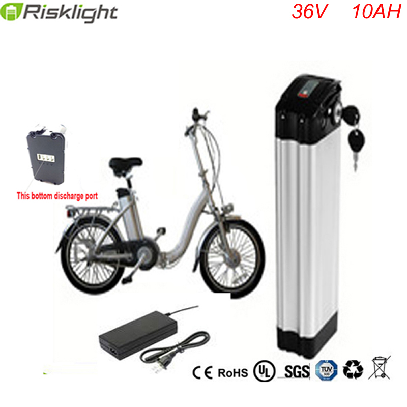 Bottom discharge Hi-Q ebike battery 36v silver fish 36V 10AH battery pack 18650 accu battery 36 volt with Aluminum alloy case 36v electric bike battery 36v 20ah 1000w silver fish li ion 36 v 20ah battery use 2500mah 18650 cell top discharge free shipping