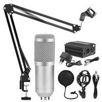 BM800 Condenser Microphone Karaoke Studio Microphone 48V Phantom Power Microphone Stand Professional Mic Kit Stand Filter BM800