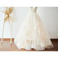 Thanh lịch Vải Tuyn Dài Váy với Appliques Cao Eo Đu Lớn tươi tốt Maxi Váy cho Phụ Nữ Kịch Bridal Gown Prom Nữ váy
