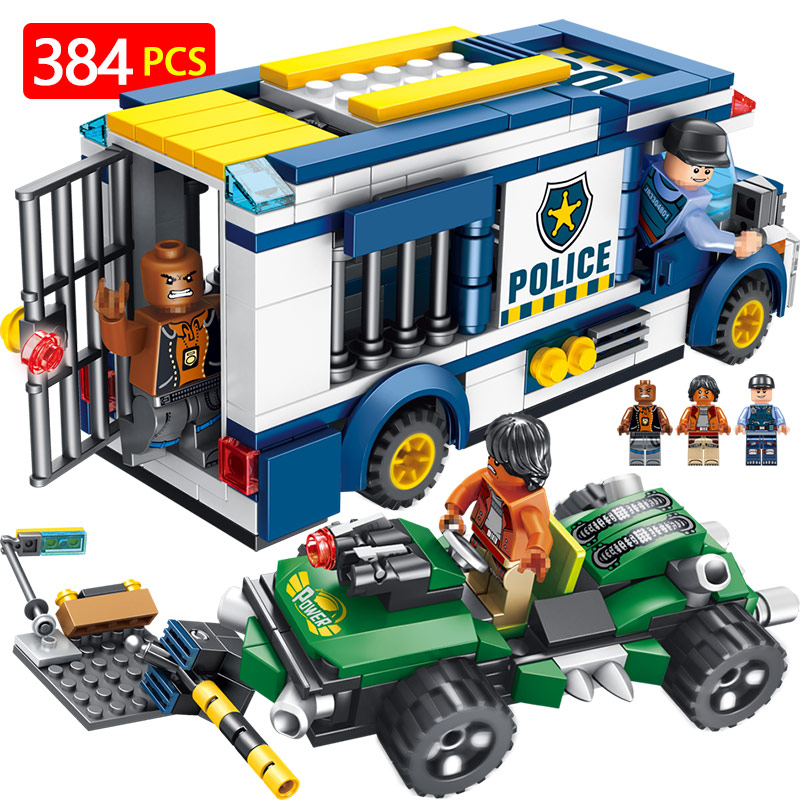 City Series Blocks Mini Action Figures Compatible Technic LegoINGLYS Police Prisoner Arrest car Designer Bricks Toys For Boys цена