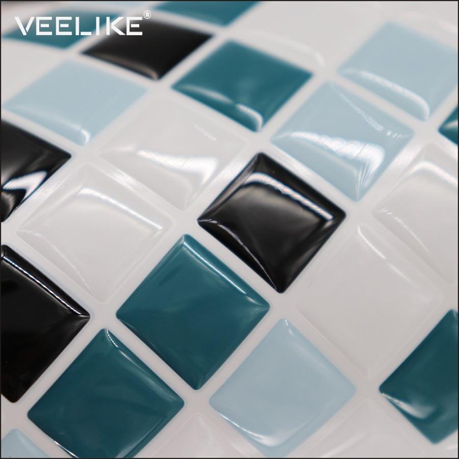 Waterproof PVC Mosaic Tile Sticker Oilproof Wall Sticker Home Decor Bathroom Kitchen Backsplash Vinyl Self Adhesive 3D Wallpaper