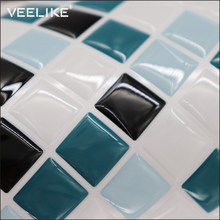 Waterproof PVC Mosaic Tile Sticker Oilproof Wall Sticker Home Decor Bathroom Kitchen Backsplash Vinyl Self Adhesive 3D Wallpaper(China)