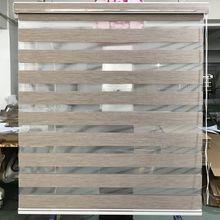 Özel yapılmış % 80% karartma çift katmanlı rulo Zebra jaluzi pencere perdeleri oturma odası için 12 renk mevcuttur