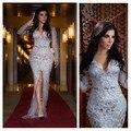 Formal Vestido de Kim Kardashian lujosa perlas / lentejuelas / raja del frente de plata de manga larga noche de la sirena 2015 Vestido