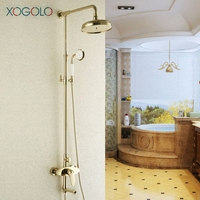 Xogolo Thermostatic Water Shower Faucet Set Fashion Gold Plated Shower Mixer Round Style Showerhead Bathroom Accessories