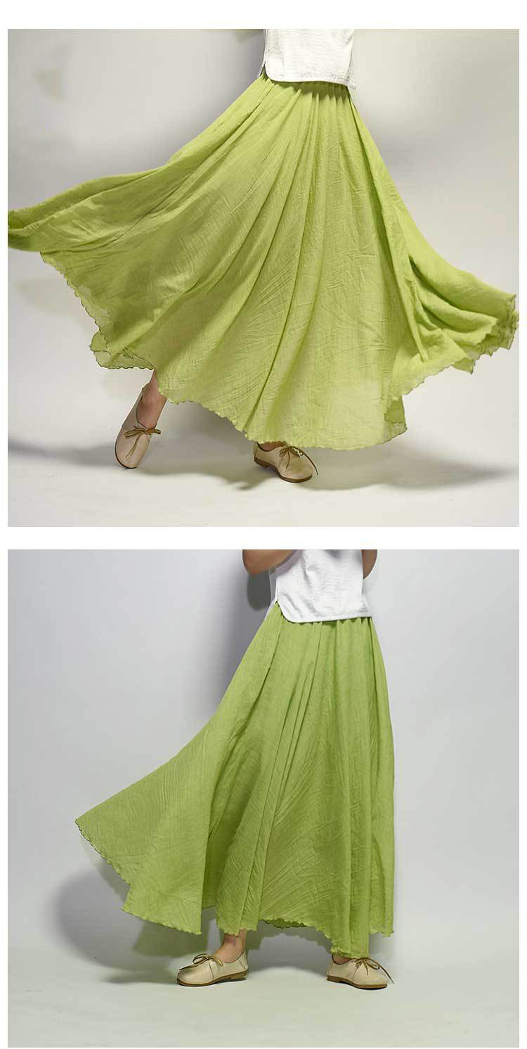 Sherhure 19 Women Linen Cotton Long Skirts Elastic Waist Pleated Maxi Skirts Beach Boho Vintage Summer Skirts Faldas Saia 27