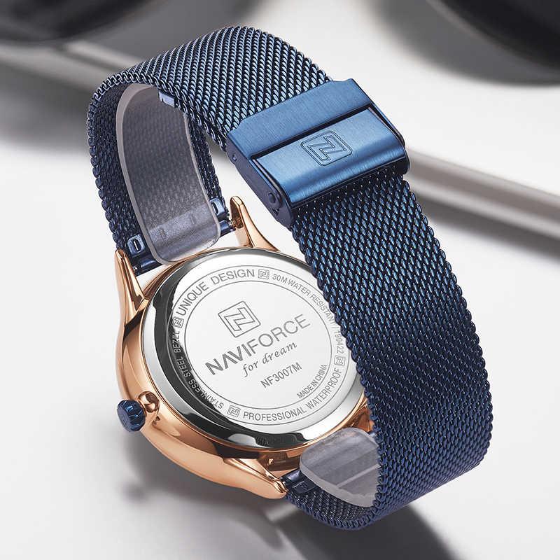 NAVIFORCE למעלה מותג שעונים גברים קוורץ שעונים איש של פלדת שעון זכר כחול Wristwaches Drop חינם סיטונאי Relogio Masculino